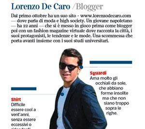 CORRIERE DELLA SERA – «Lorenzo De Caro /Blogger»