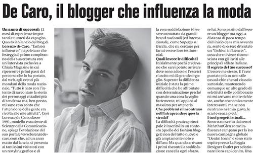 CHIAIA MAGAZINE – Professione fashion reporter – De Caro, il blogger che influenza la moda