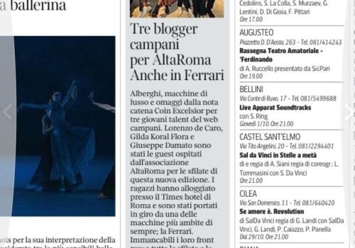 Corriere della Sera – Tre Blogger Campani per AltaRoma, anche in Ferrari